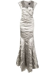 Nicole Miller Crumpled Effect Gown Silver