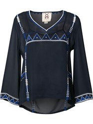 Figue Sheer Beaded Blouse Blue