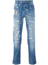 Dolce And Gabbana Flower Embroidered Jeans Blue