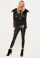 Missguided Black Faux Leather Velvet Detail Leggings