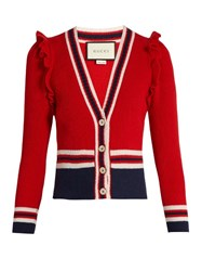 Gucci Ruffle Trimmed Wool Cardigan Red Multi
