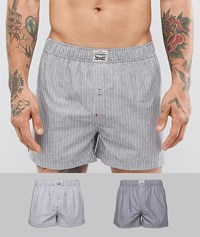 Levi's Levis Woven Boxers 2 Pack In Black Chambray Stripe