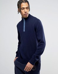 Love Moschino High Neck Jumper With Neck Print Navy
