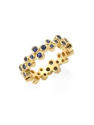 Temple St. Clair Trio Eternity Blue Sapphire Ring Yellow Gold