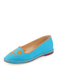 Charlotte Olympia Mexi Cat Embroidered Flat Espadrille Turquoise