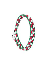 Tod's Braided Wrap Bracelet Calf Leather Green