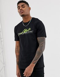 Good For Nothing T Shirt In Black With Neon Logo
