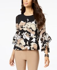 Alfani Petite Printed Ruffle Sleeve Blouse Created For Macy's Neutral Spiga Floral