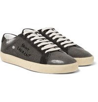 Saint Laurent Sl 06 Suede Trimmed Distressed Coated Canvas Sneakers Gray