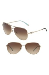 Tiffany And Co. 59Mm Metal Aviator Sunglasses Pale Gold Gradient