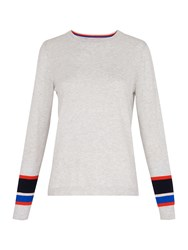 Whistles Stripe Cuff Crew Neck Knit Grey