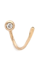 Blanca Monros Gomez Single Curly Seed Stud Earring Gold White Diamond