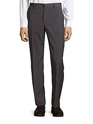 Saks Fifth Avenue Striped Flat Front Dress Pants Heather Grey