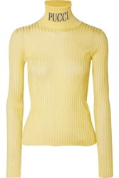 a2586b709a96 Emilio Pucci Intarsia Ribbed Knit Turtleneck Sweater Pastel Yellow