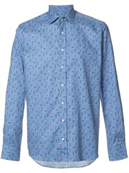Etro Allover Geometric Print Shirt Blue