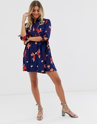 Influence Shirt Dress In Navy Floral Print
