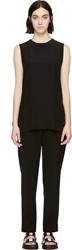 Public School Black Silk Tuxedo Tunic Sleeveless