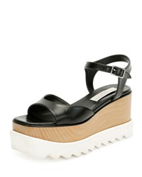 Stella Mccartney Faux Leather Platform Creeper Sandal Black