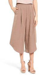 Leith Women's Pleat Culottes Brown Taupe
