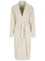 Oui Cashmere Blend Belted Wrap Coat Birch
