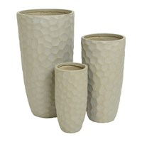 Amara Tall Clay Plant Pot Set Of 3 Sand