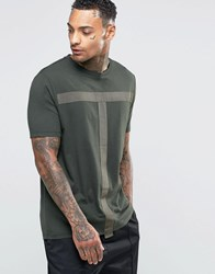 Asos Longline T Shirt With Tape Detail Army Green