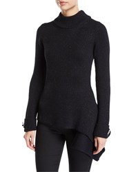 Oscar De La Renta Mock Neck Floral Cuff Asymmetric Sweater Black