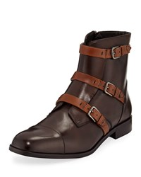 Donald J Pliner Martino Triple Strap Leather Boots Brown