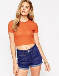 Asos Short Sleeve Crop Top With Crew Neck In Rib Tan