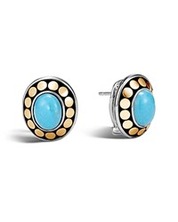 John Hardy Sterling Silver And 18K Bonded Gold Dot Earrings With Turquoise 100 Bloomingdale's Exclusive Blue Gold