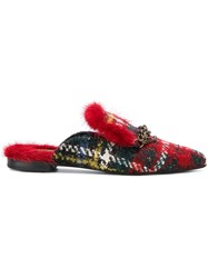 Mr And Mrs Italy Chain Embellished Tweed Mules Red