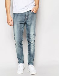 Waven Jeans Valtar Drop Crotch Skinny Tapered Fit Dusty Blue Blasted Dusty Blue