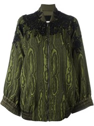 Antonio Marras Embellished Jacquard Bomber Jacket Green