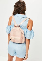 Missguided Nude Mini Croc Backpack