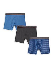 Lucky Brand Cotton Blend Boxer Briefs Set Of 3 Dutch Blue
