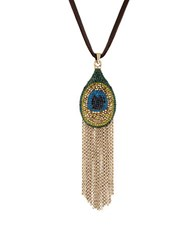 Lucky Brand Pave Peacock Goldtone Tassel Pendant Leather Necklace