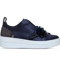 Kurt Geiger Loop Embellished Satin Trainers Navy