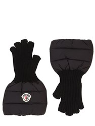 Moncler Nylon And Wool Knit Gloves Black