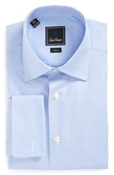 David Donahue Men's Big And Tall Trim Fit Plaid Dress Shirt Sky