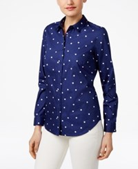 G.H. Bass And Co. Cotton Polka Dot Shirt Navy French