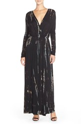 Women's Fraiche By J Tie Dye Faux Wrap Maxi Dress Black Blue Special