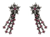 Marc Jacobs Charms Celestial Crystal Shooting Star Studs Earrings Amethyst Antique Silver