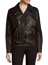 Mcq By Alexander Mcqueen Leather Long Sleeve Jacket Black