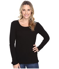 Mod O Doc Vintage Slub Thermal Back Vent Long Sleeve Tee Black Women's T Shirt