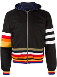 Iceberg Striped Hooded Jacket Black