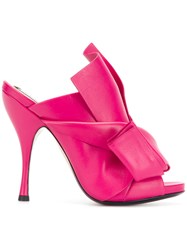 N 21 No21 Abstract Bow Stiletto Mules Pink And Purple