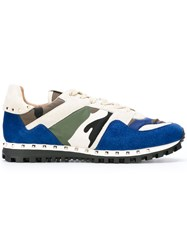 Valentino Garavani Camouflage Sneakers Men Leather Suede Polyester Foam Rubber 43 Denim