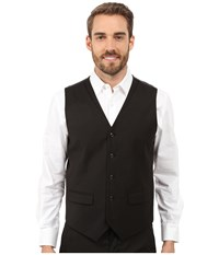 Perry Ellis Solid Twill Stripe Suit Vest Black Men's Vest