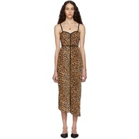 Nanushka Black And Beige Ocelot Abir Dress