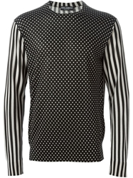 Dolce And Gabbana Polka Dot Striped Sweater Black